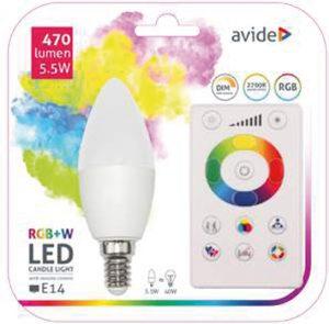 Avide Smart LED Candle E14  5.5W RGB+W 2700K with IR remote